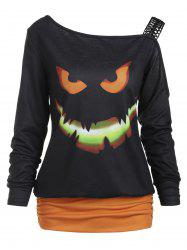 Halloween Ghost Face Print Long Sleeve T-shirt -