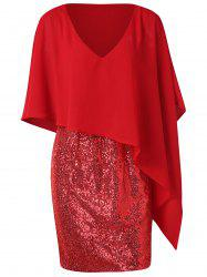 Col en V Paillettes Splicing Popover Robe - Rouge L