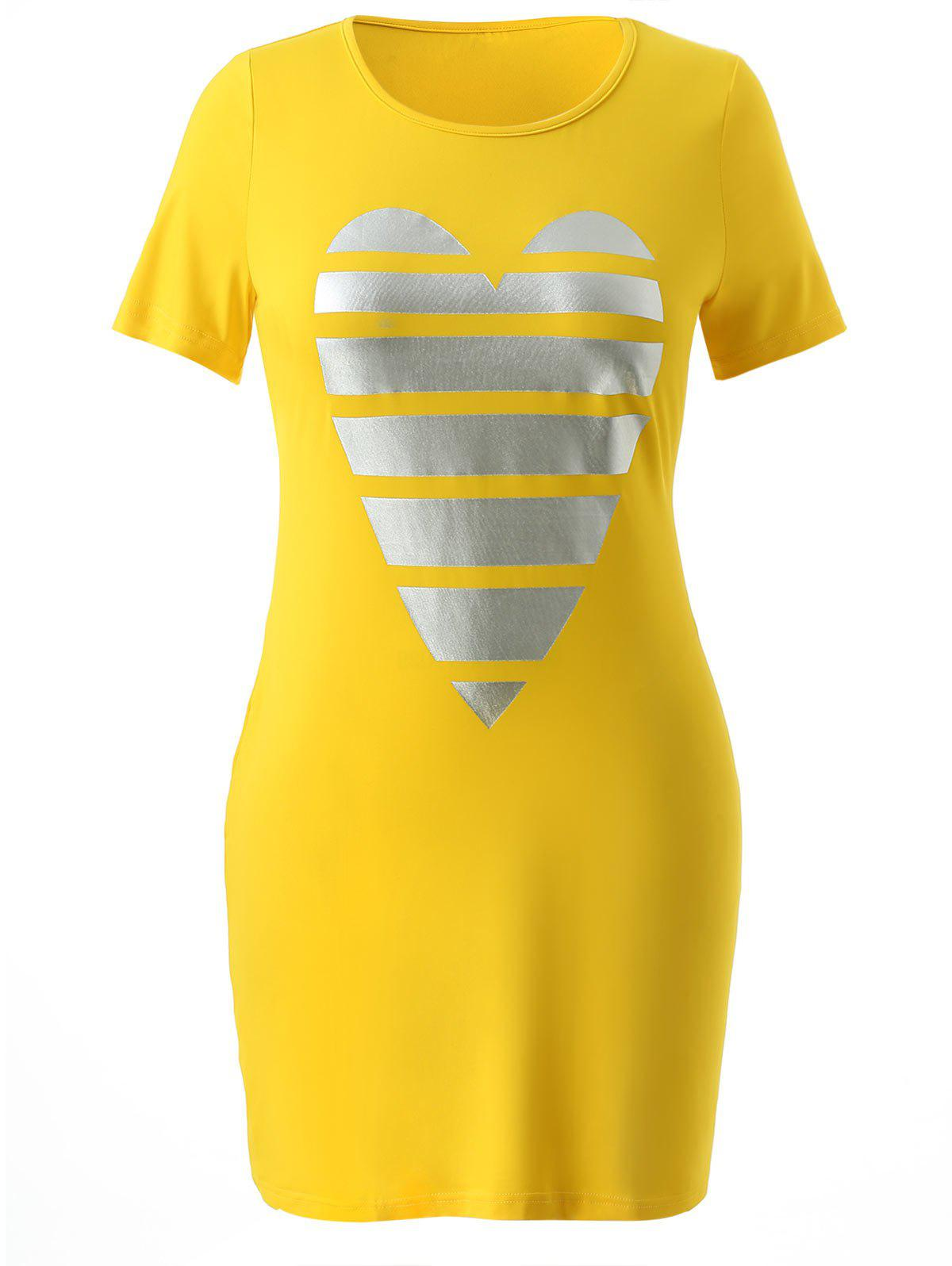 Store Plus Size Heart Graphic T-shirt Dress