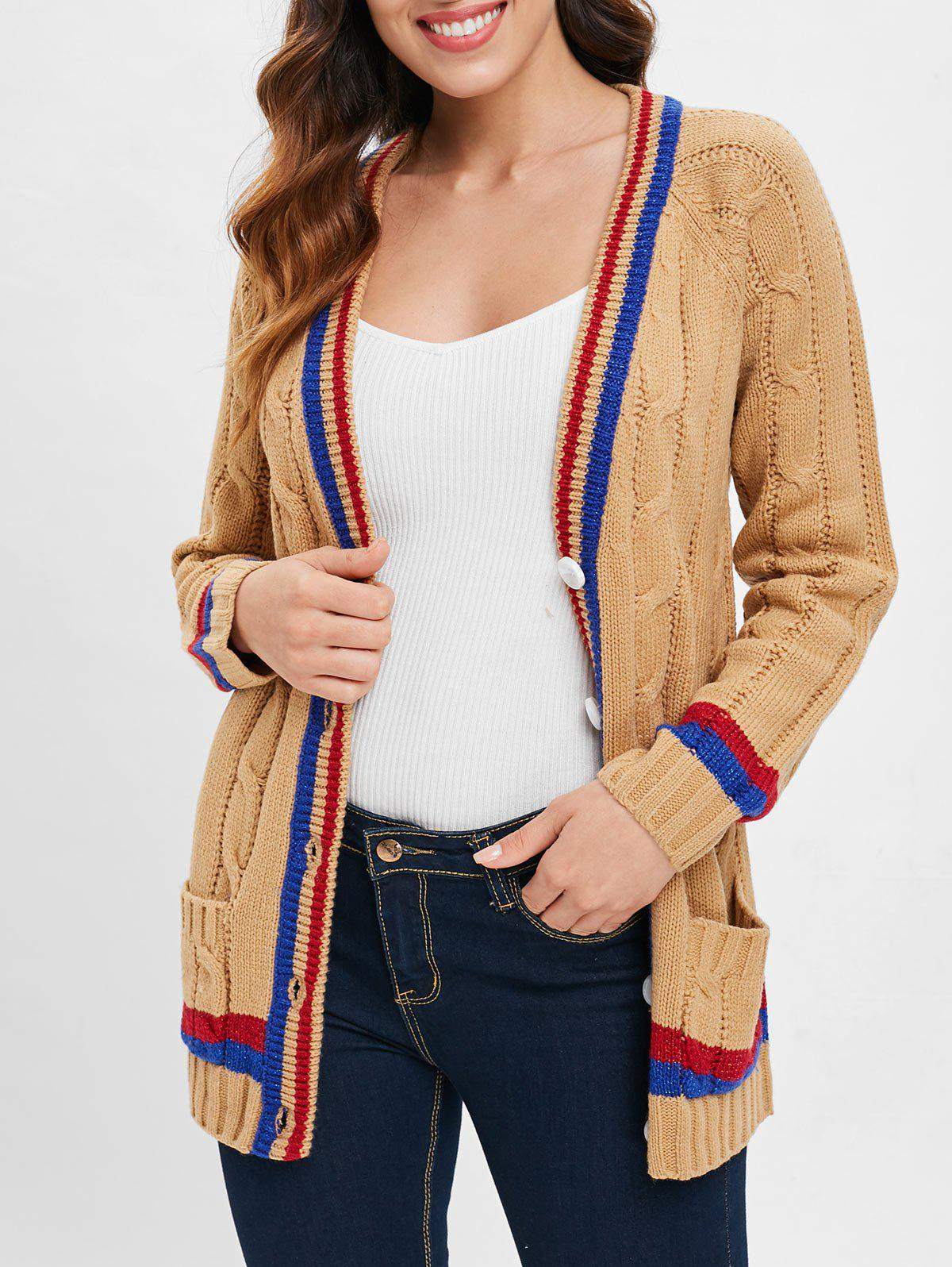 Latest Striped Trim Button Cable Knit Cardigan