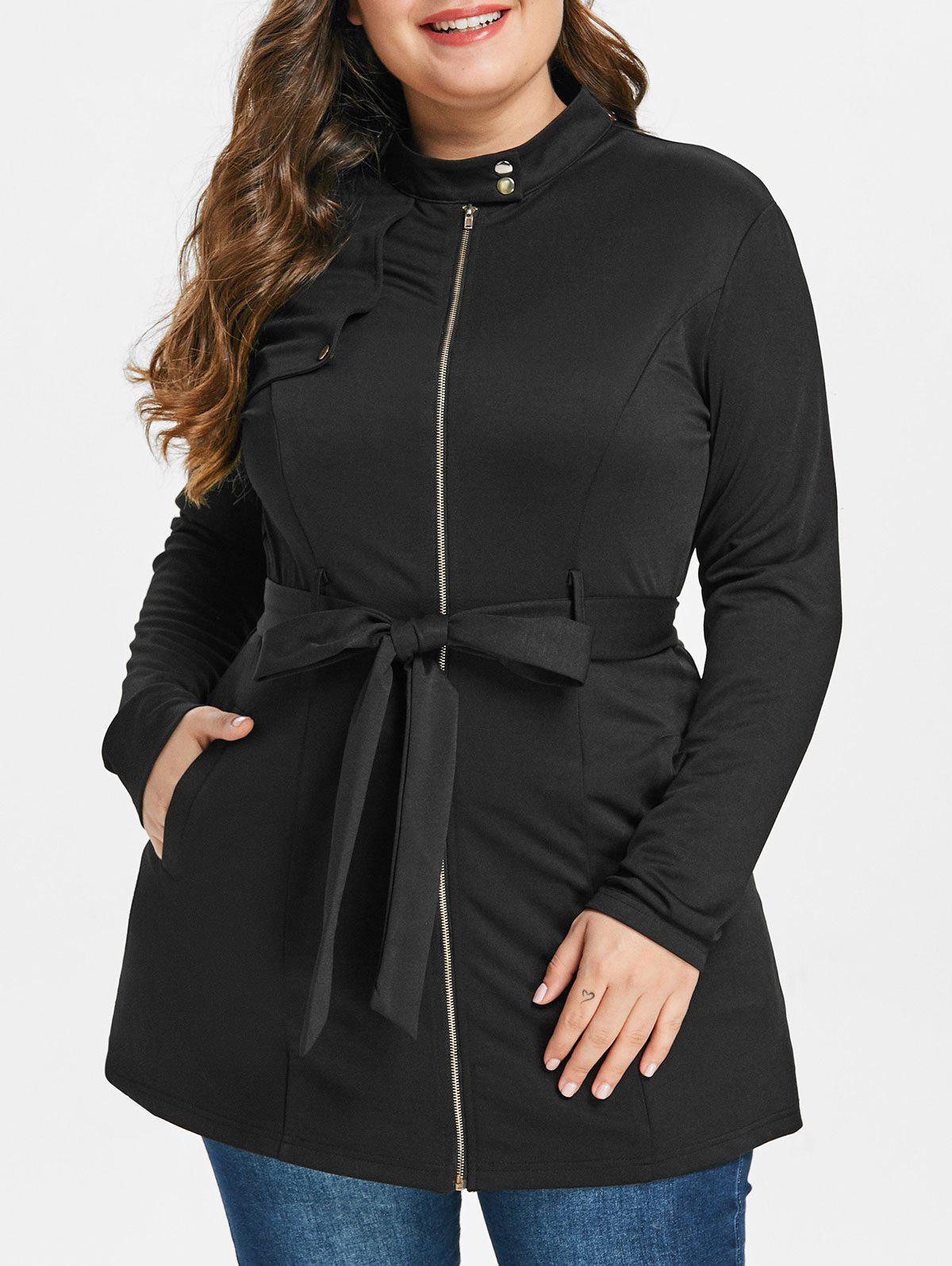 Trendy Plus Size Zipped Belted Coat