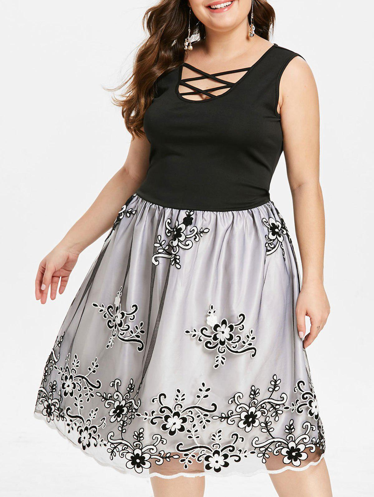 Fancy Plus Size Vintage Mesh Overlay Embroidery Dress