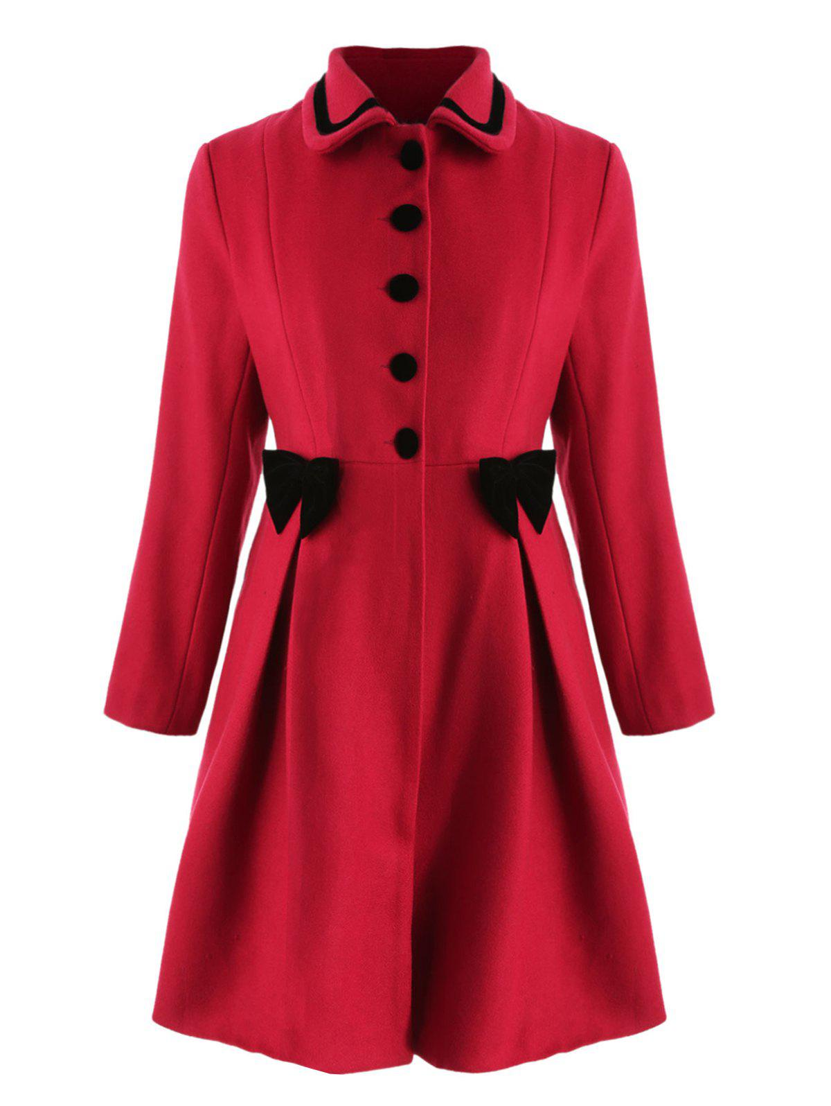 Shops Bowknot Embellished Plus Size Longline Coat