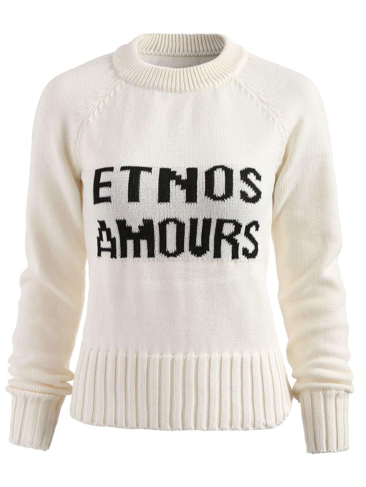 Sale Contrast Letter Print Pullover Sweater