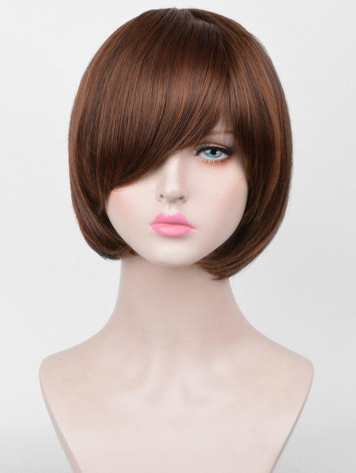 Unique Short Inclined Bang Straight Bob Party Synthetic Wig