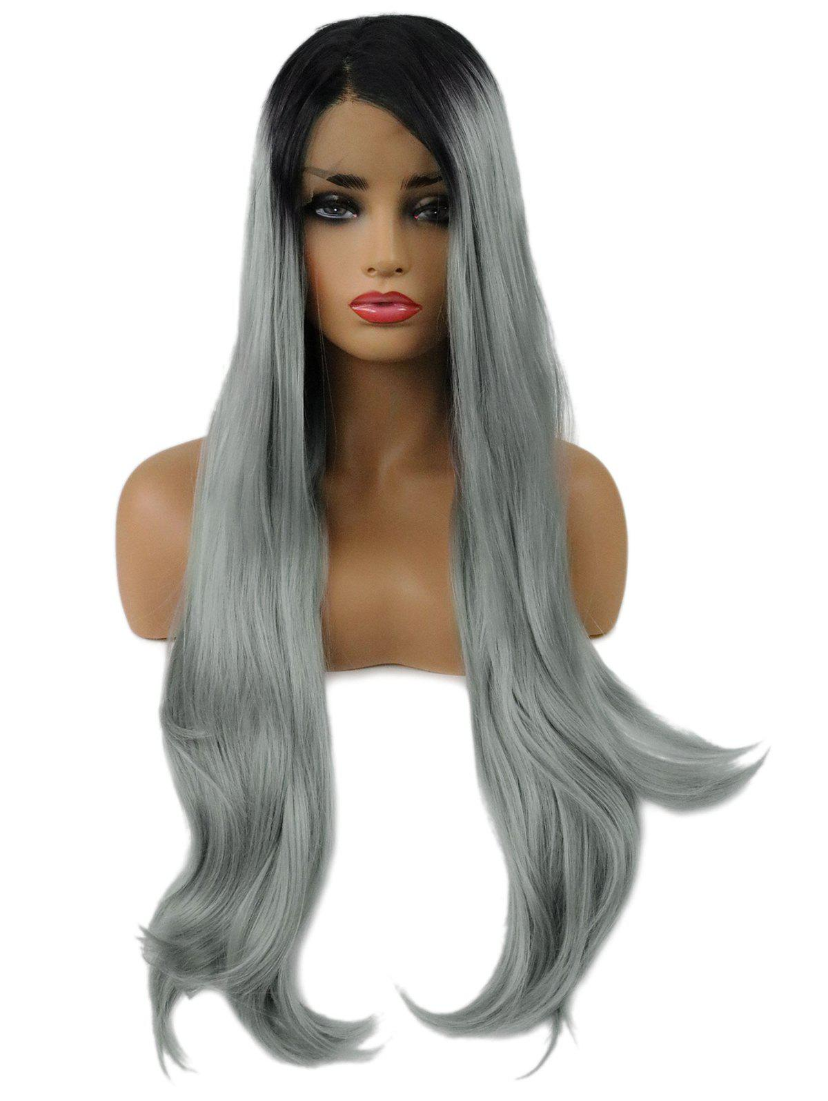 Hot Long Ombre Side Parting Straight Synthetic Lace Front Wig