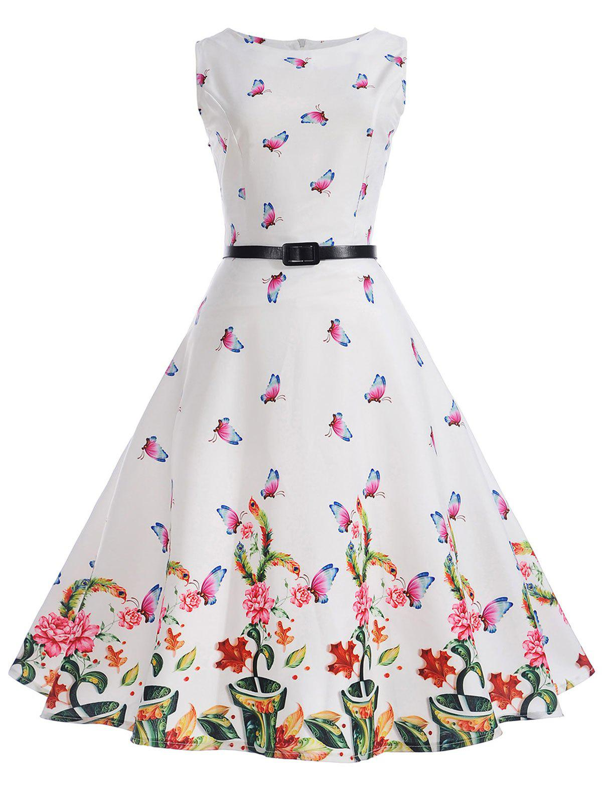 Affordable Vintage Butterflies Floral Pin Up Dress