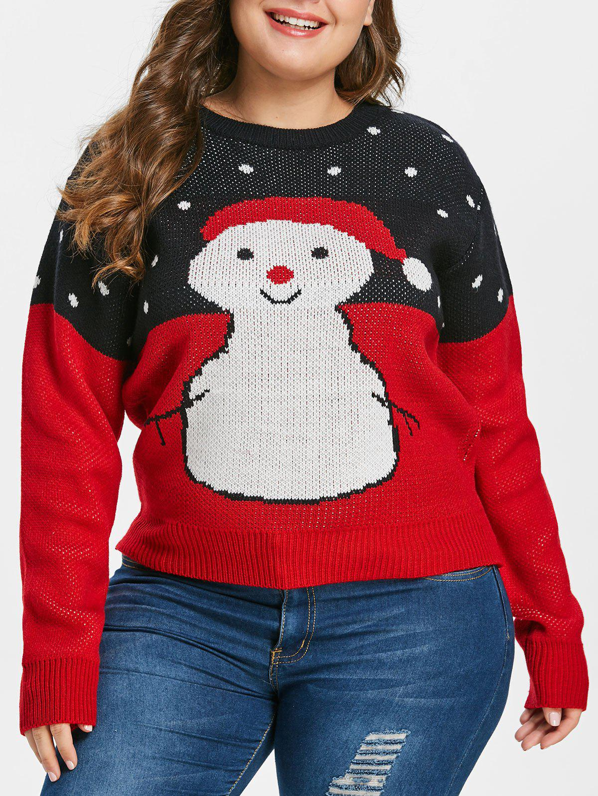 Latest Plus Size Christmas Snowman Sweater