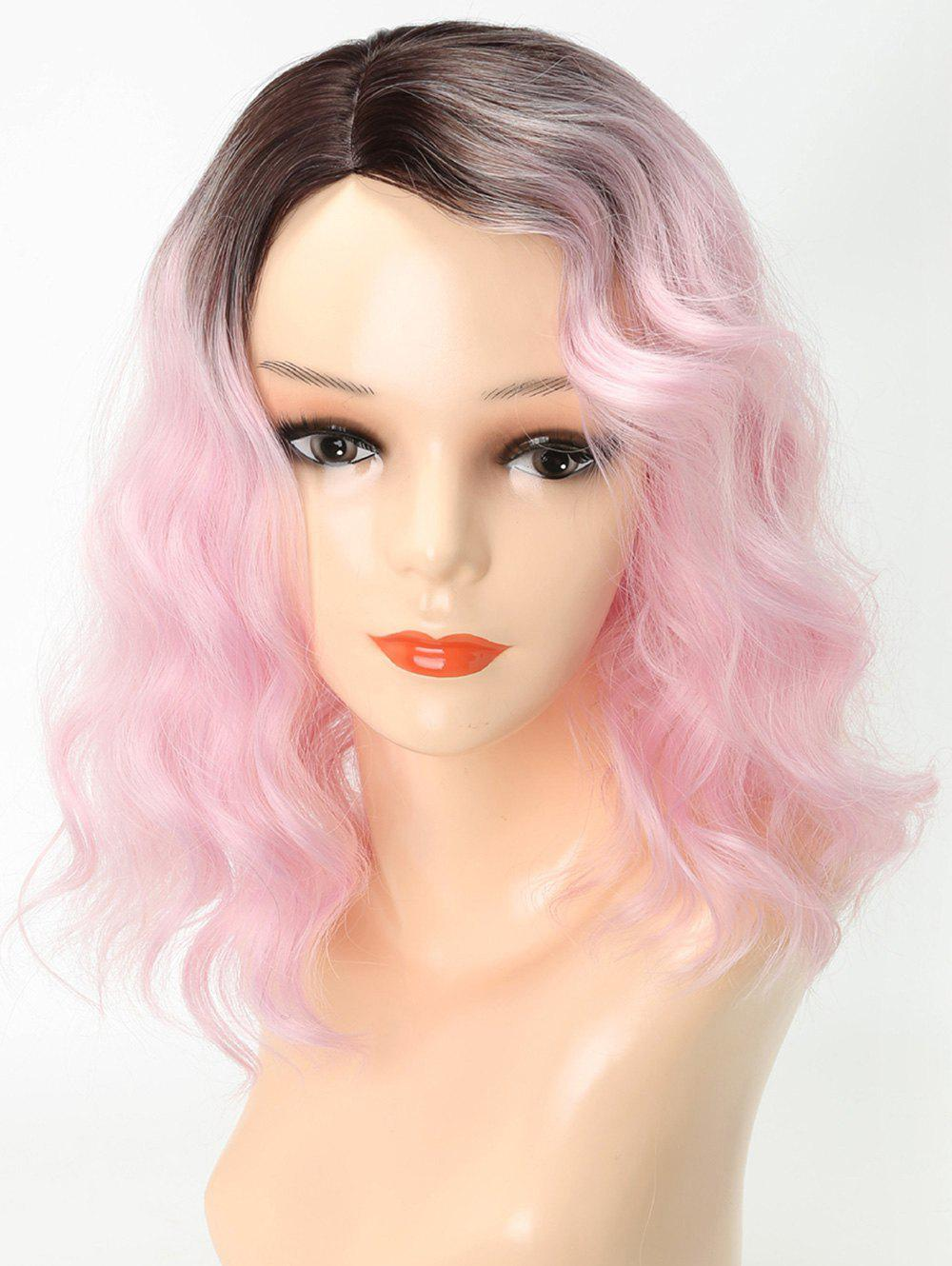 Unique Medium Side Parting Ombre Wavy Cosplay Party Synthetic Wig