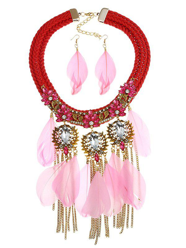 Store Shiny Colored Rhinestone Inlaid Fringed Necklace and Earrings Suit