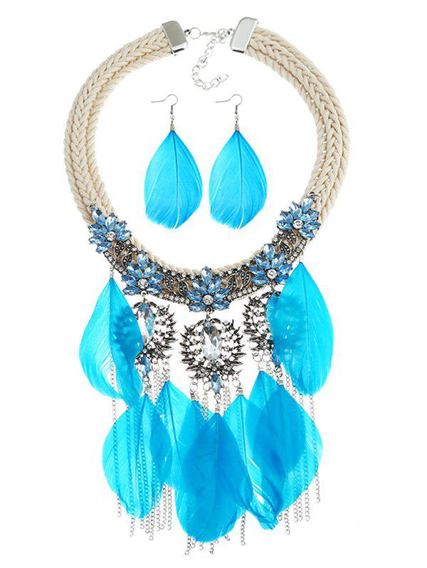 Latest Shiny Colored Rhinestone Inlaid Fringed Necklace and Earrings Suit