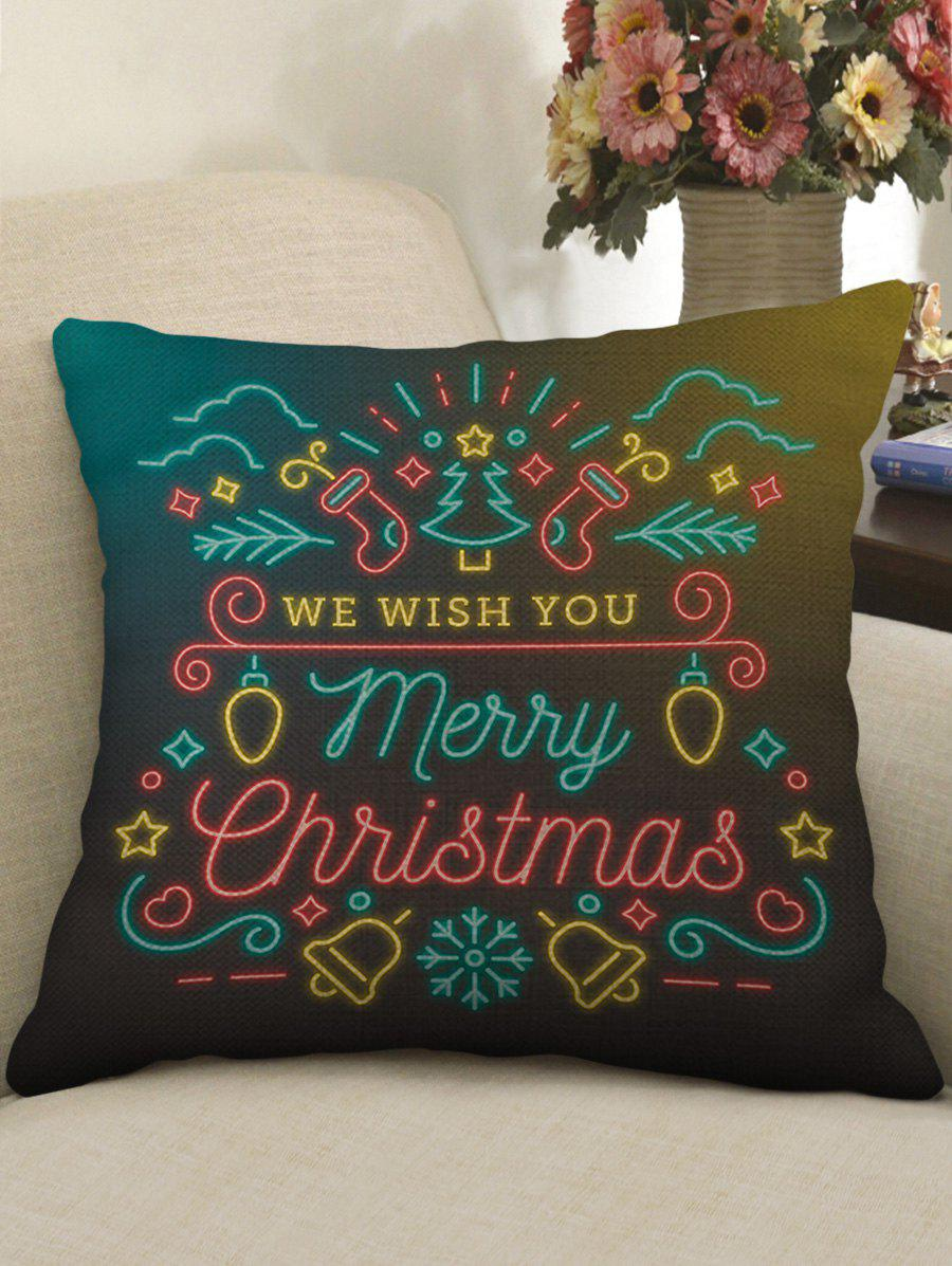 Shop Merry Christmas Theme Print Decorative Sofa Linen Pillowcase
