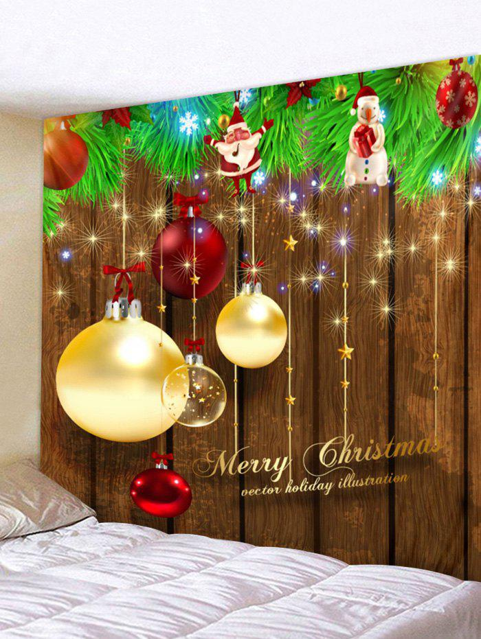 Sale Christmas Ball Wood Grain Print Tapestry Wall Hanging Decoration