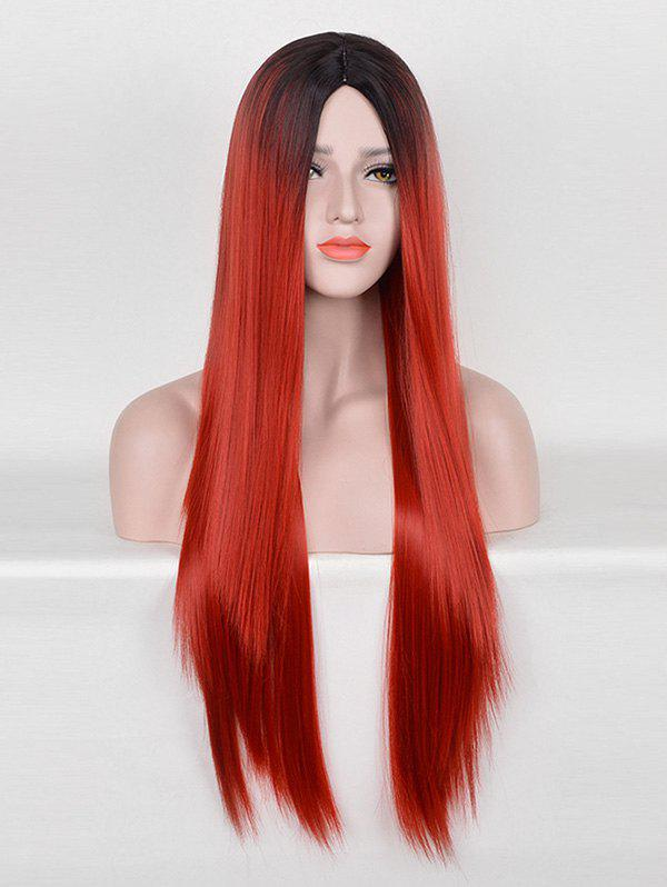 Hot Middle Part Long Ombre Straight Party Cosplay Synthetic Wig