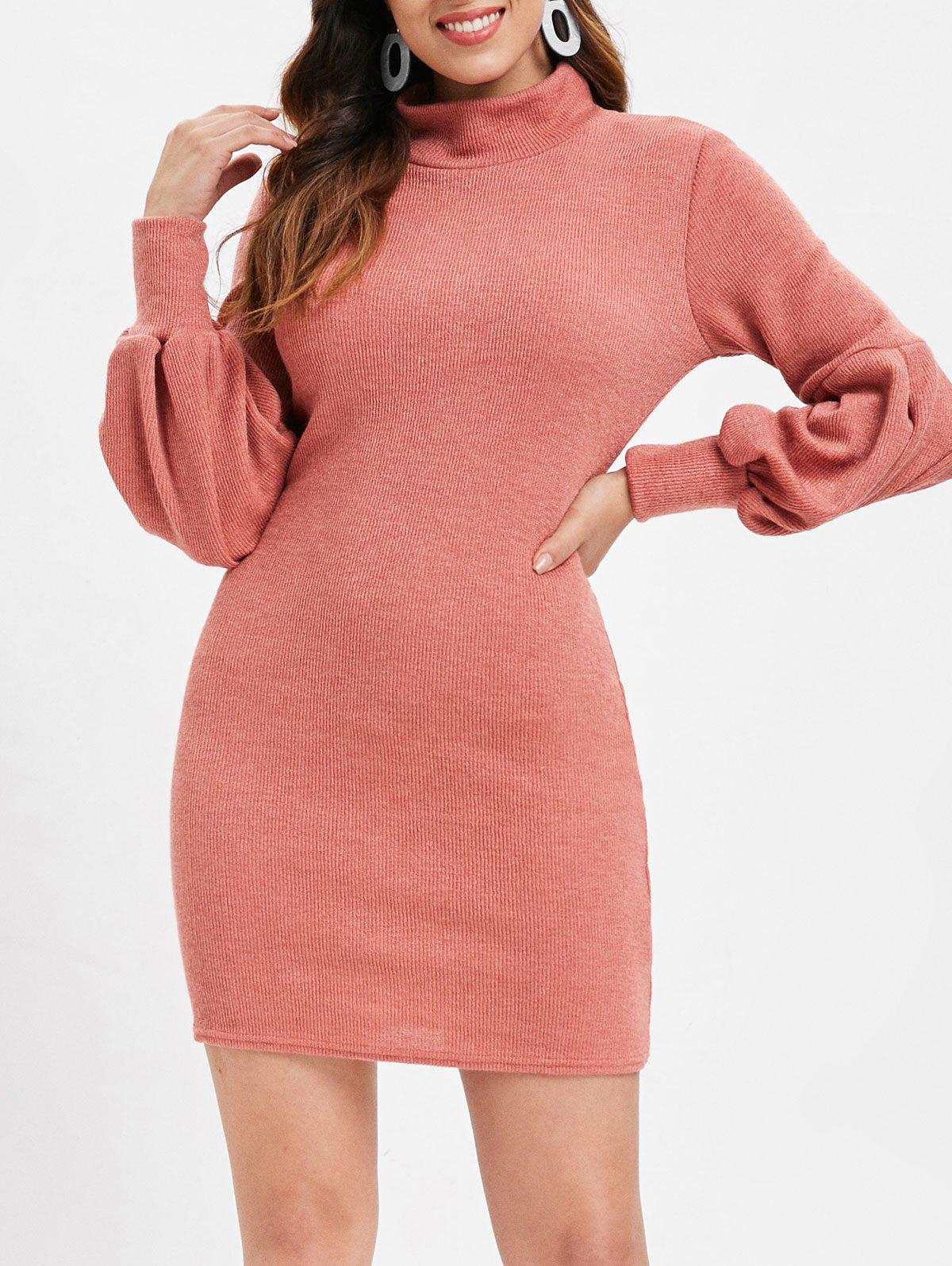 Chic Lantern Sleeve Plain Sweater Dress