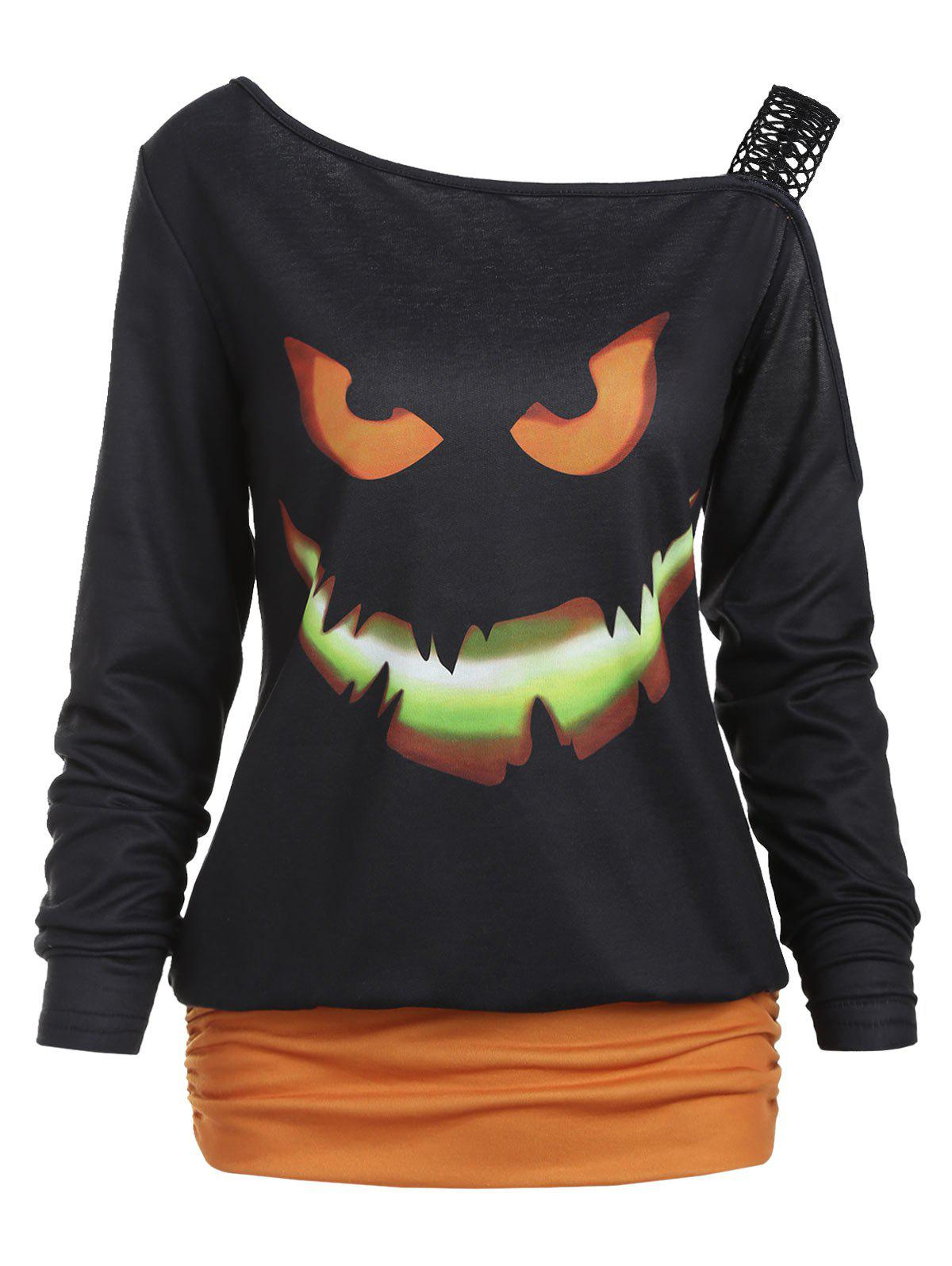 Shop Halloween Ghost Face Print Long Sleeve T-shirt