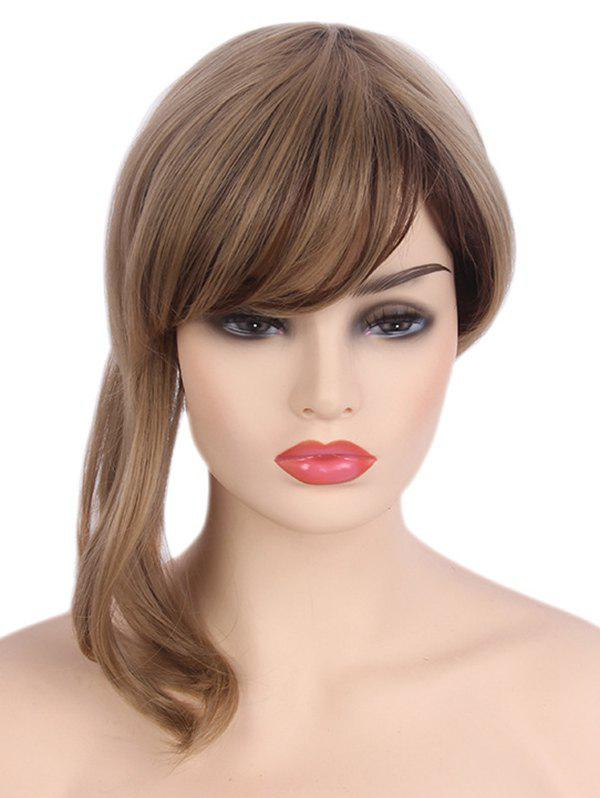 Affordable Medium Side Bang Asymmetric Colormix Straight Synthetic Wig