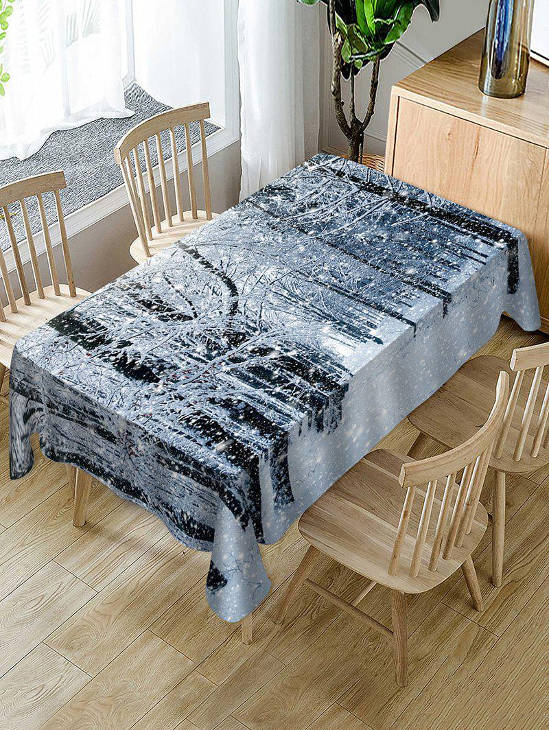 Discount Christmas Snow Forest Print Fabric Waterproof Table Cloth