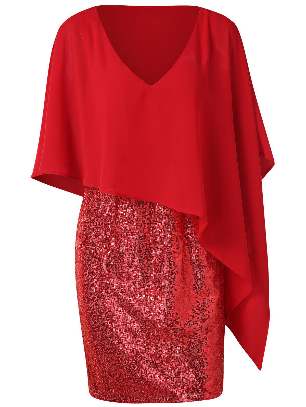 Col en V Paillettes Splicing Popover Robe Rouge L