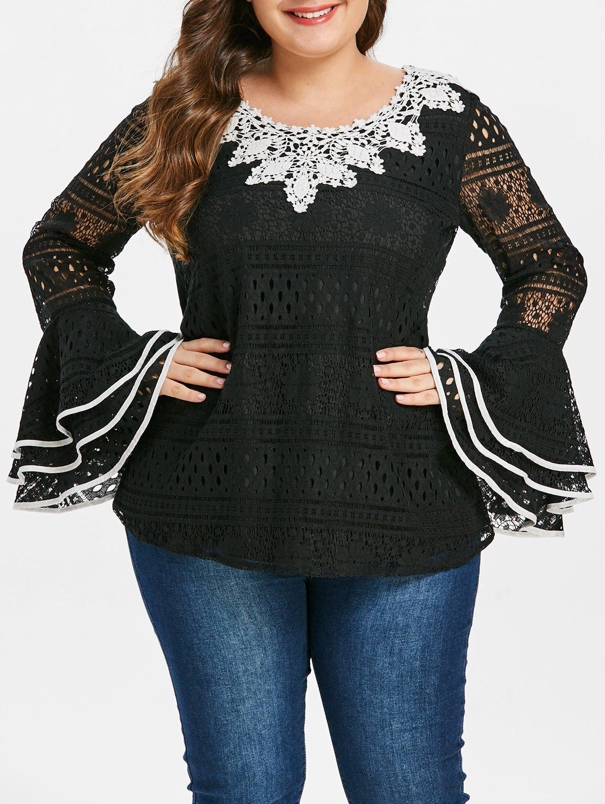 Online Plus Size Flare Sleeve Contrast Lace Blouse