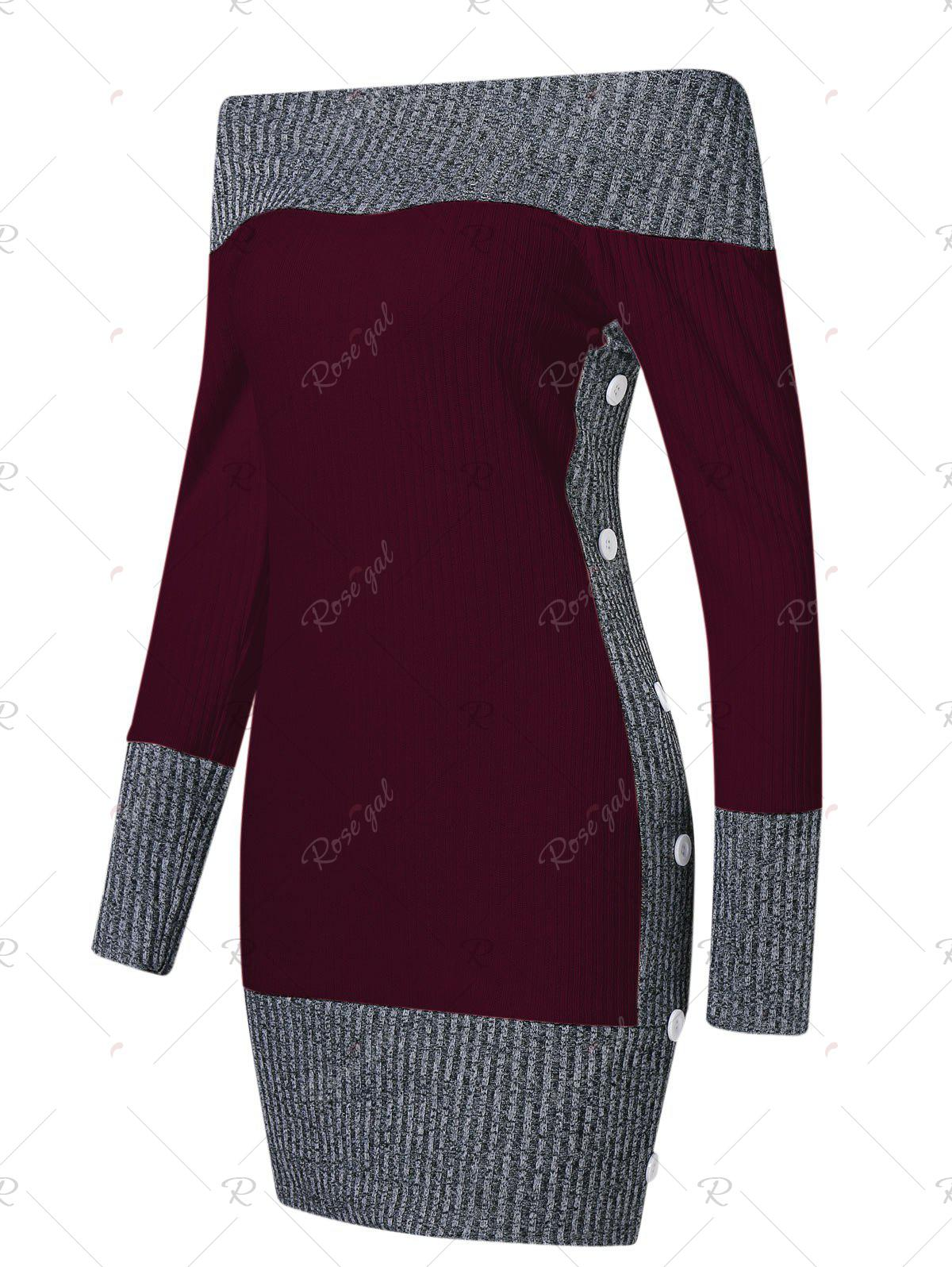 Fancy Color Block Boat Neck Knitted Dress