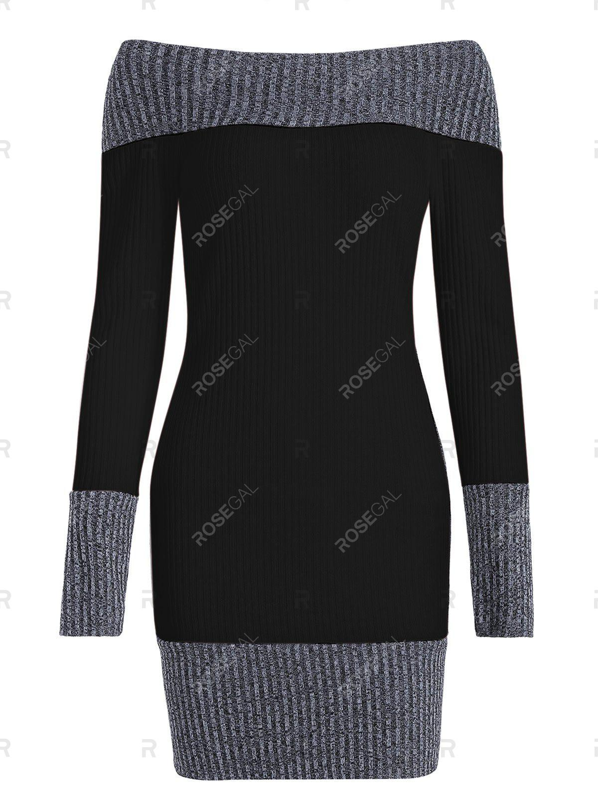 Trendy Color Block Boat Neck Knitted Dress