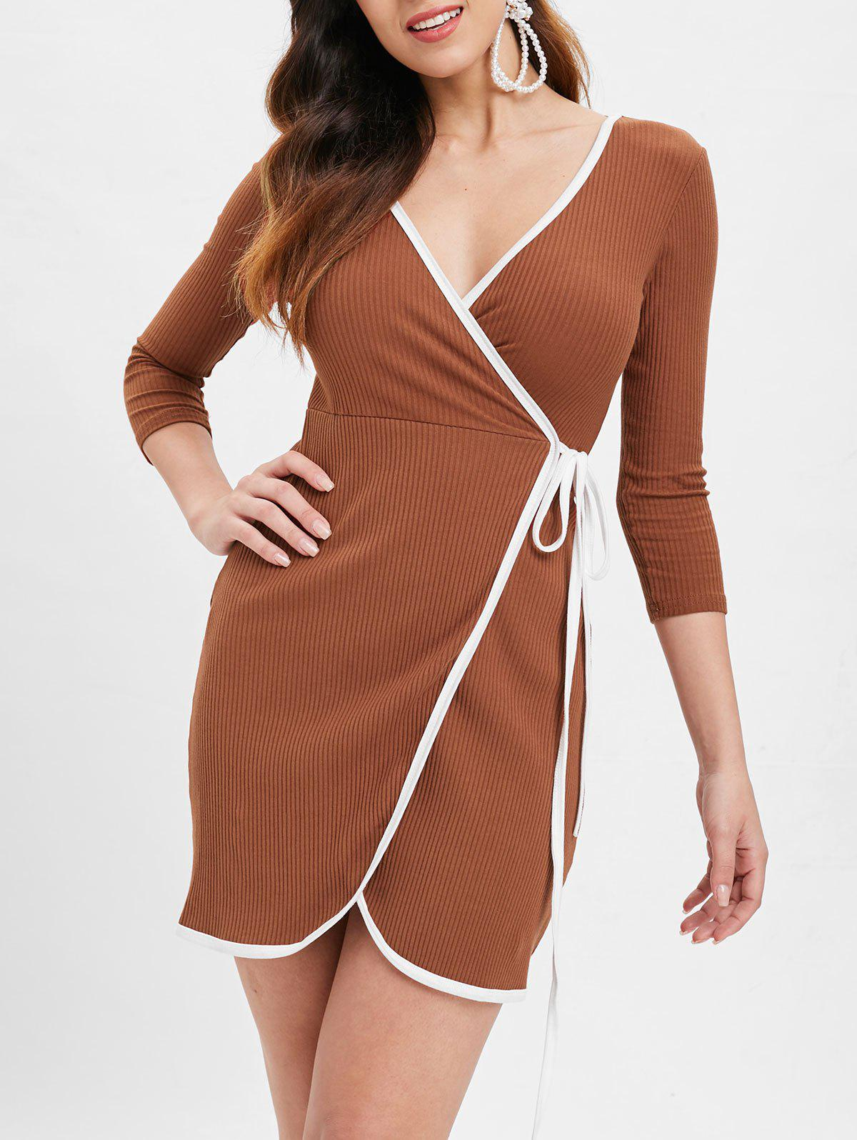 Chic Mini Ribbed Wrap Dress