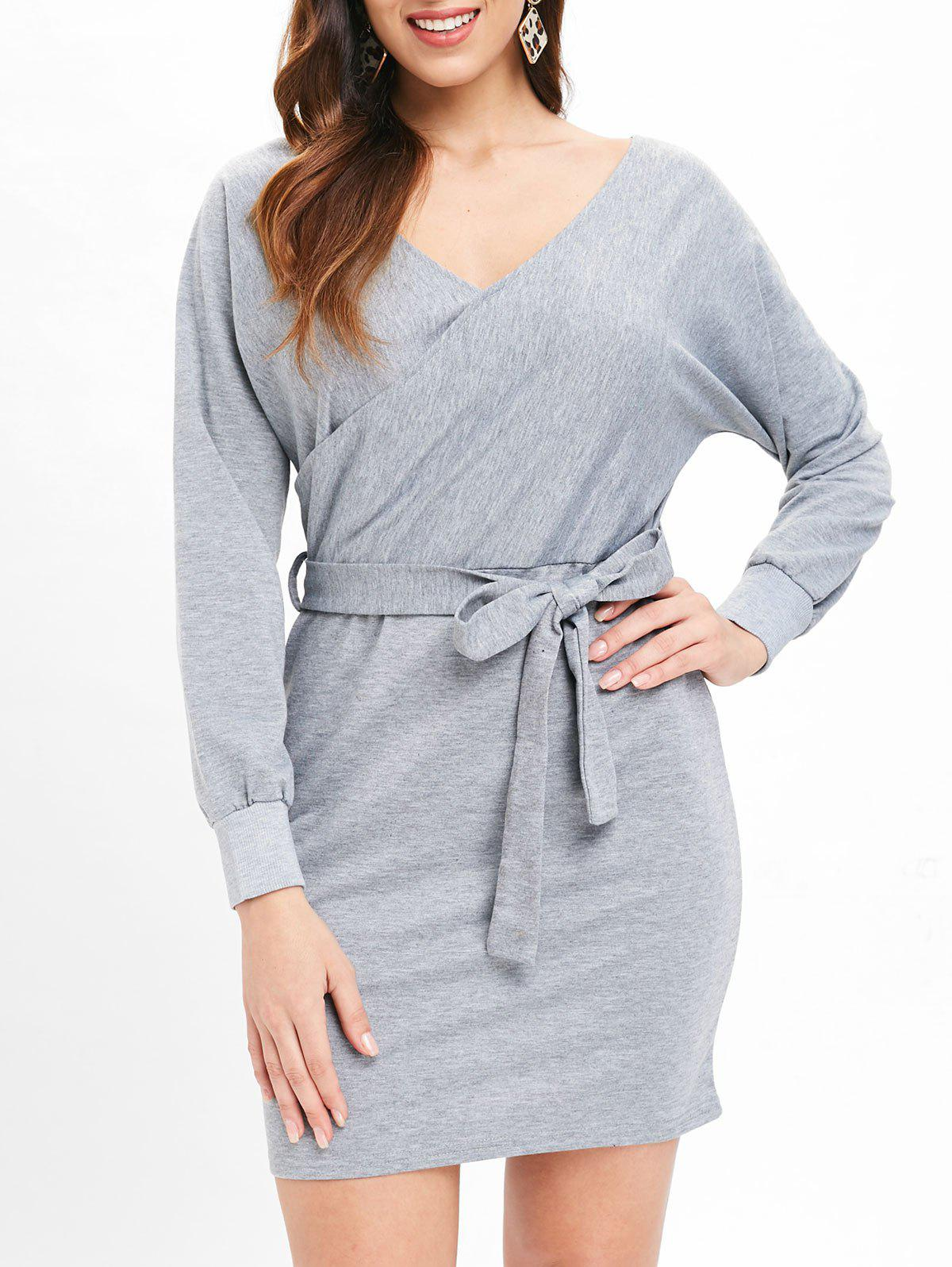New Cut Out Belted Surplice Dress
