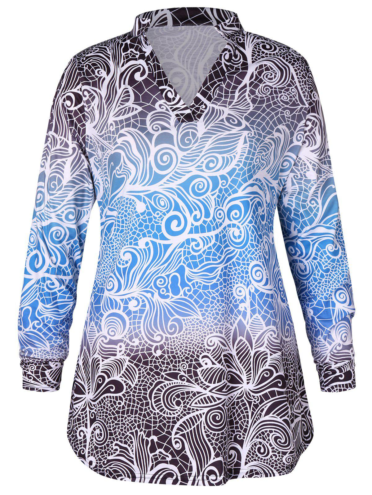 Shop Plus Size Long Sleeves Gradient Color Abstract Print Mini Dress