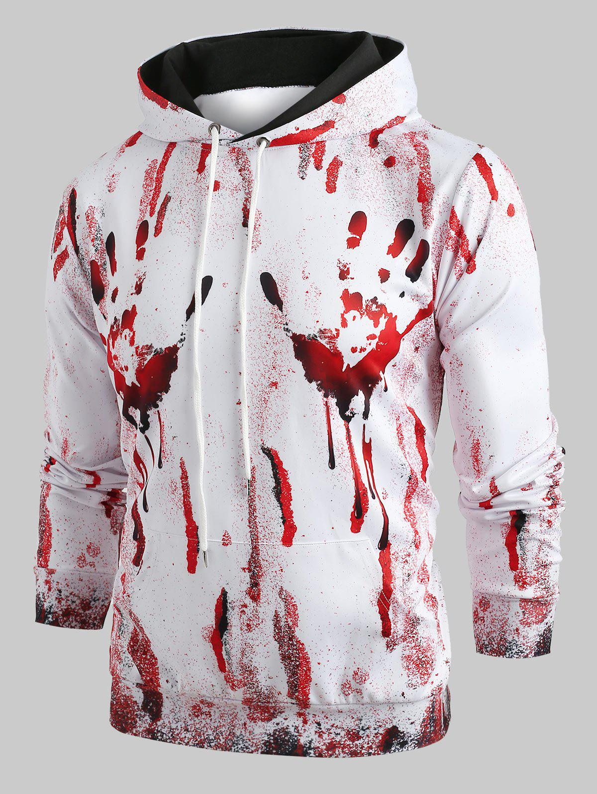 Fashion Halloween Blood Hand Print Pullover Hoodie