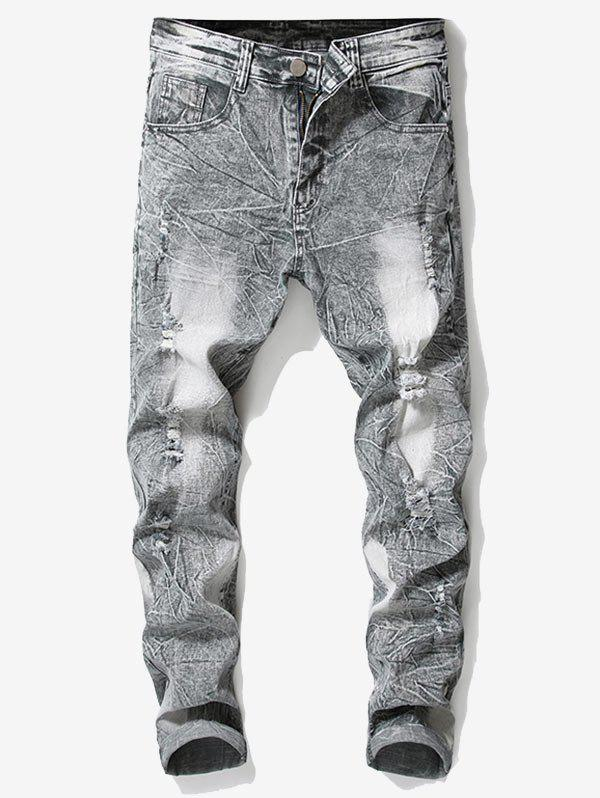 Shop Retro Faded Ripped Wrinkled Elastic Jeans