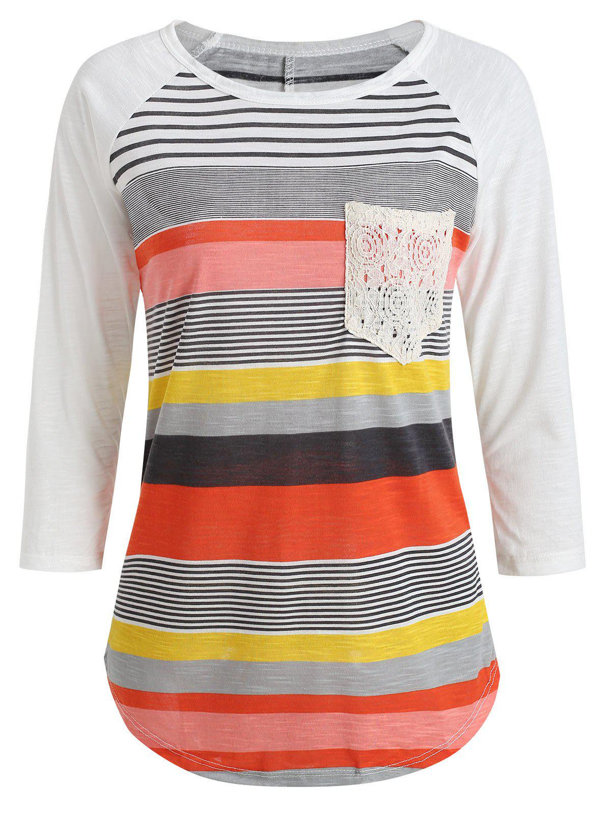 Shop Trendy Striped Lace Spliced 3/4 Sleeve Irregular T-Shirt For Women