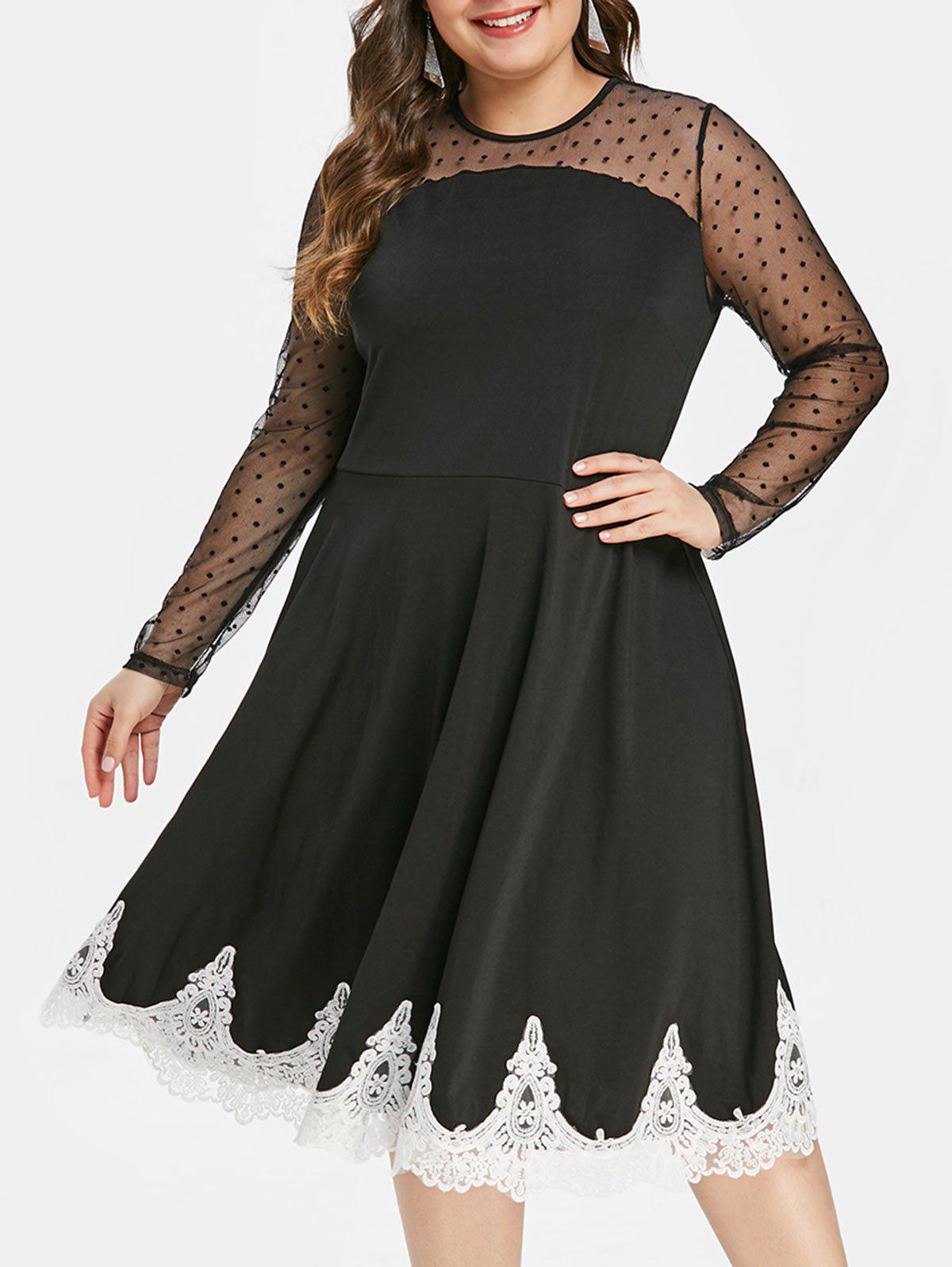 Fashion Plus Size Lace Trim High Waist Dress