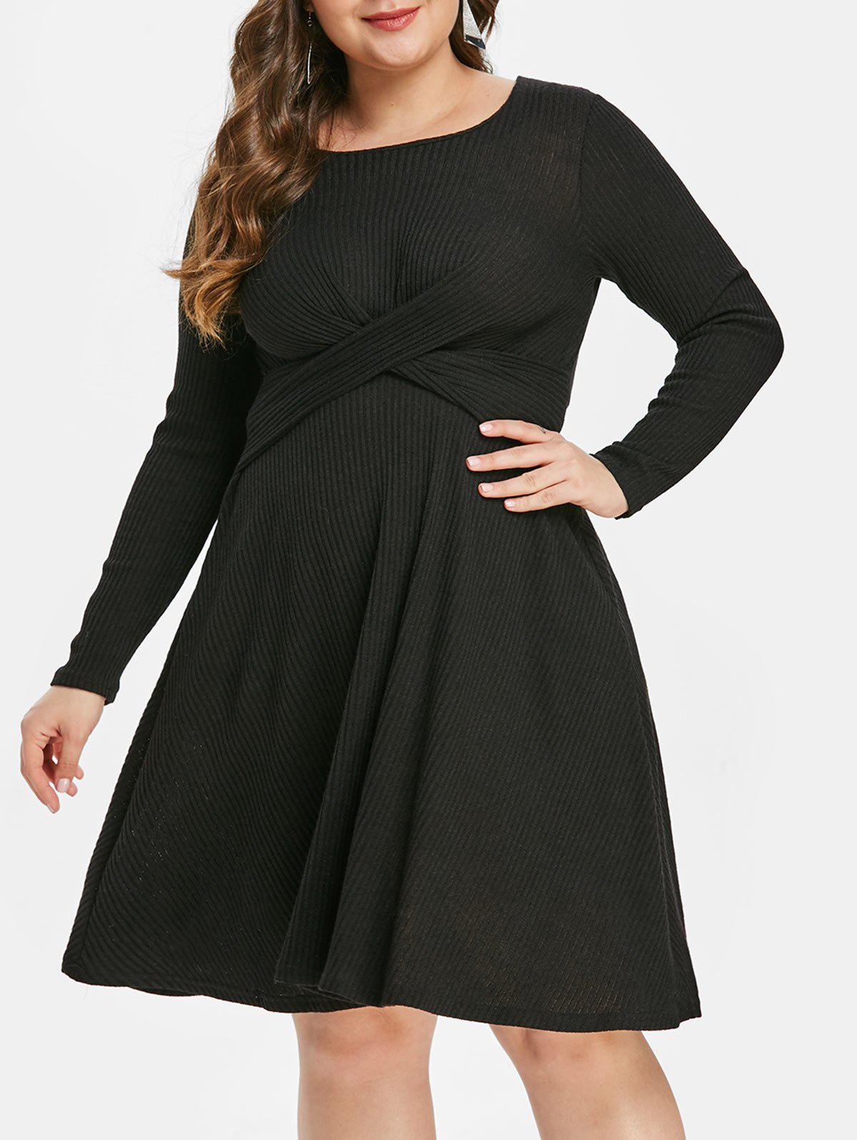 Hot Plus Size Criss Cross Knit Dress
