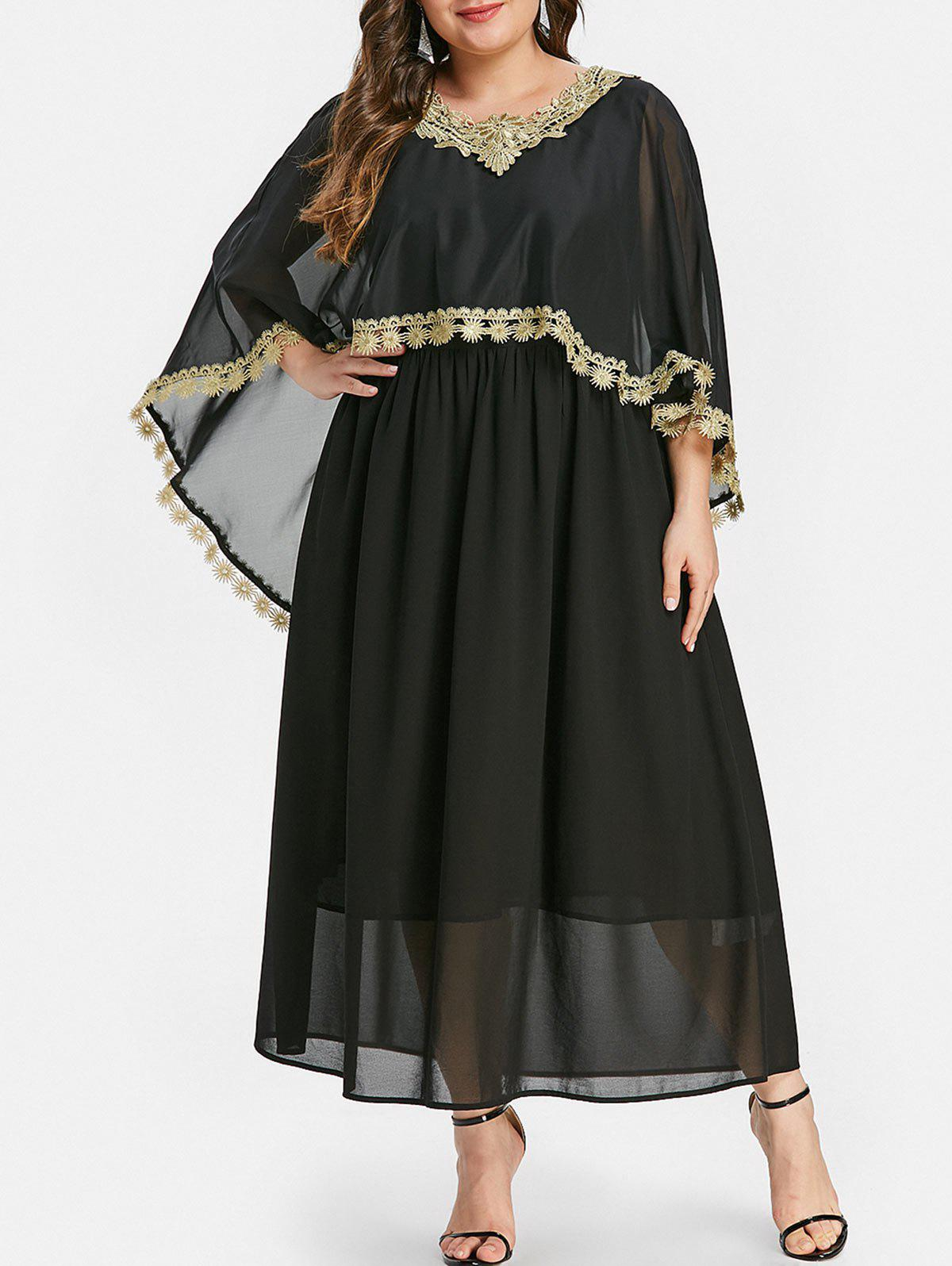 Fashion Plus Size Contrast Lace Maxi Capelet Dress