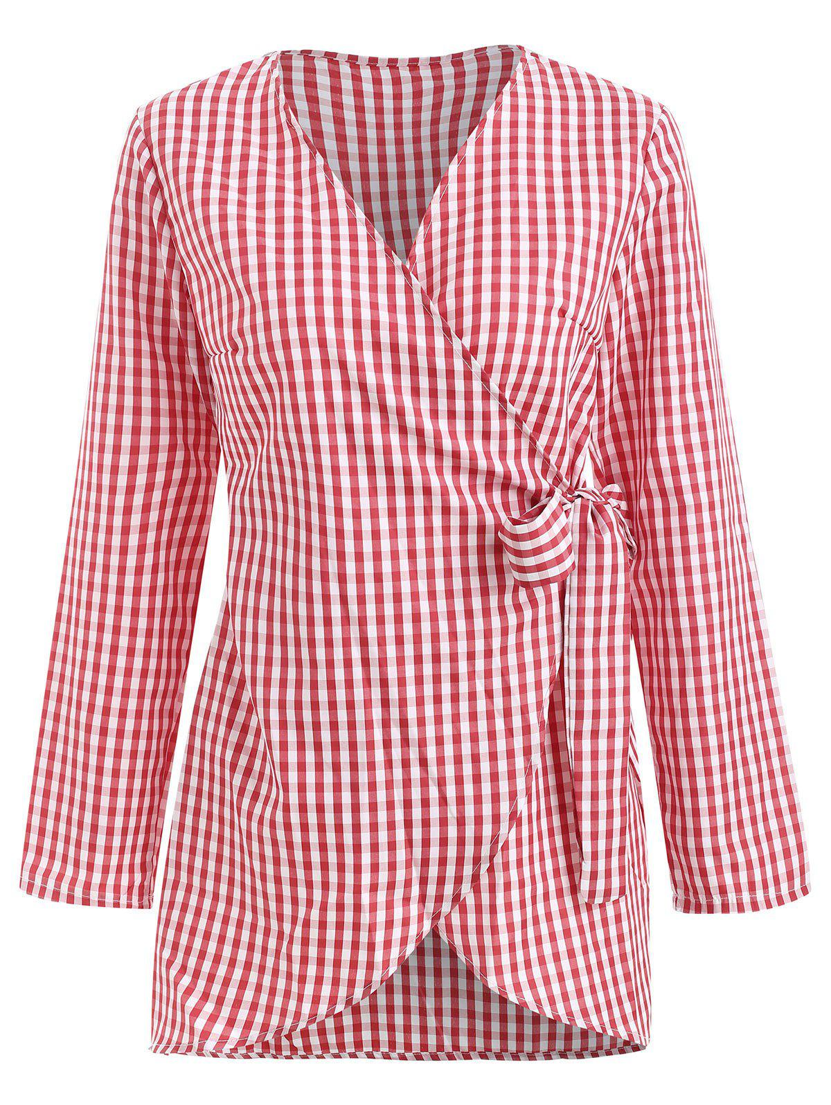 Fashion Gingham Wrap Blouse