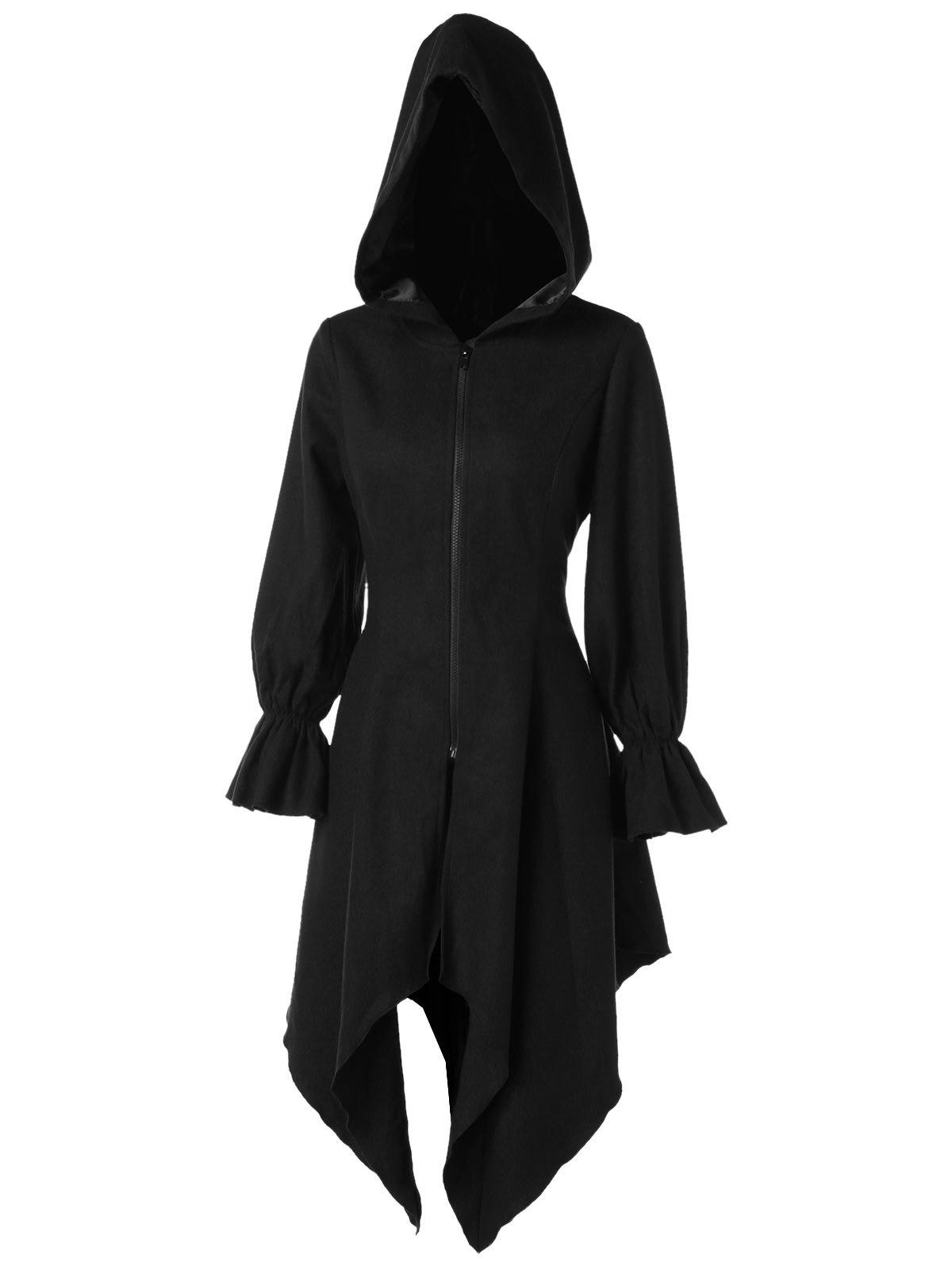 Affordable Flare Sleeve Zipper Asymmetrical Gothic Hooded  Coat
