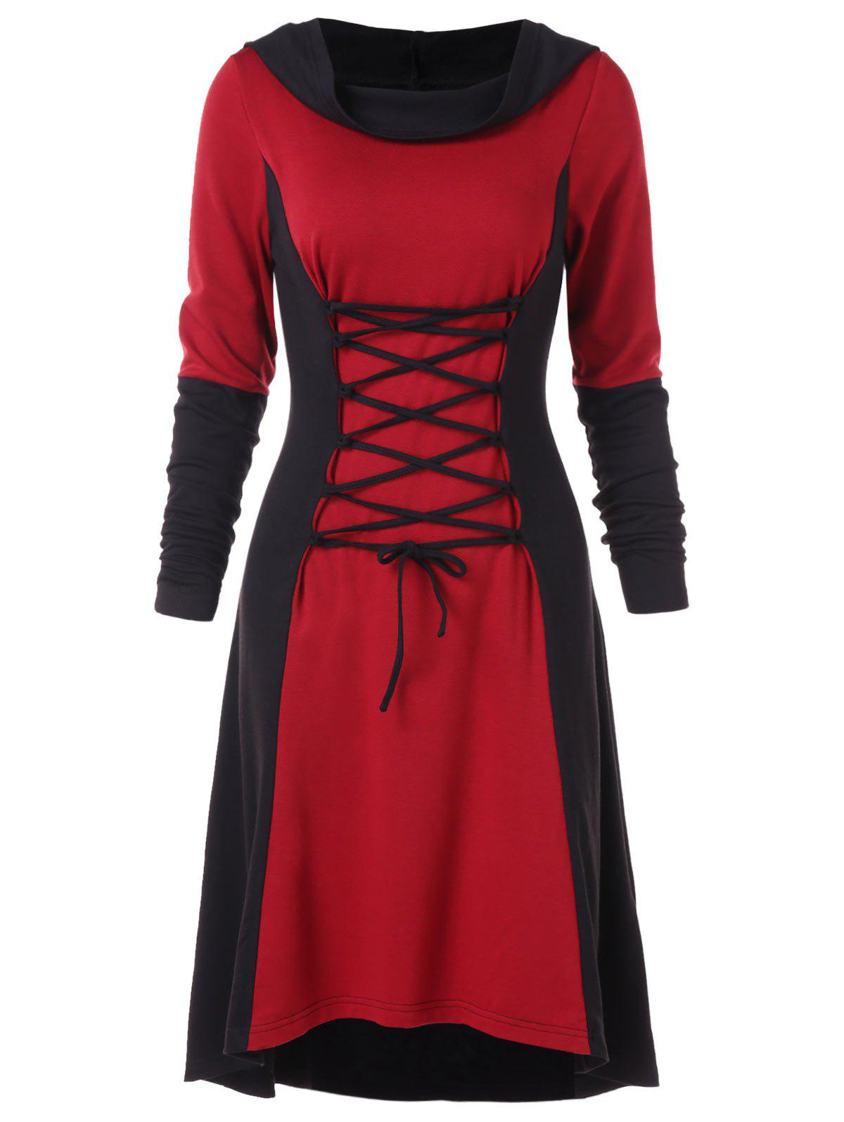 Trendy Color Block Criss Cross Gothic Hooded Dress