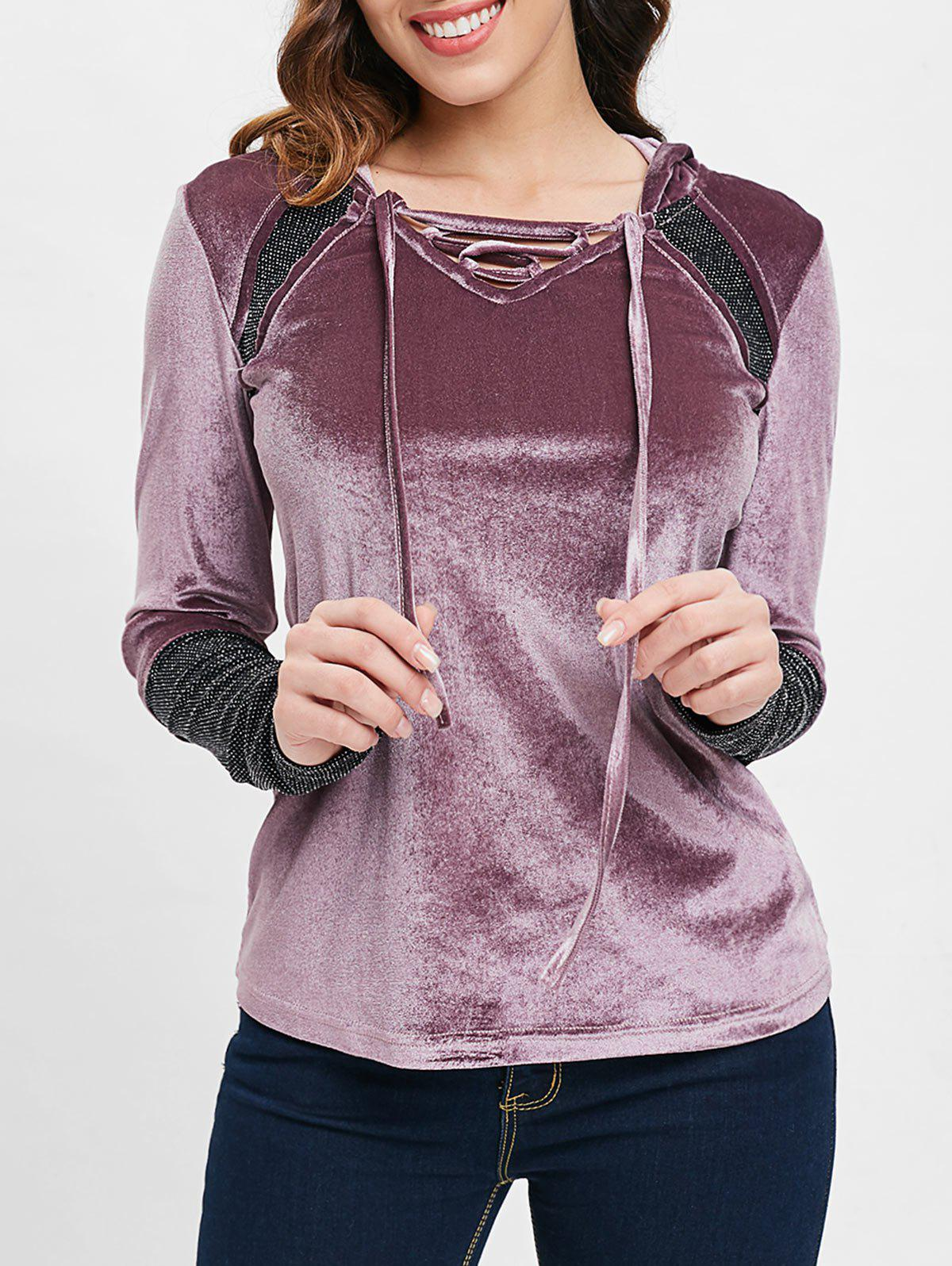Cheap Criss Cross Collar Velvet Hooded T-shirt