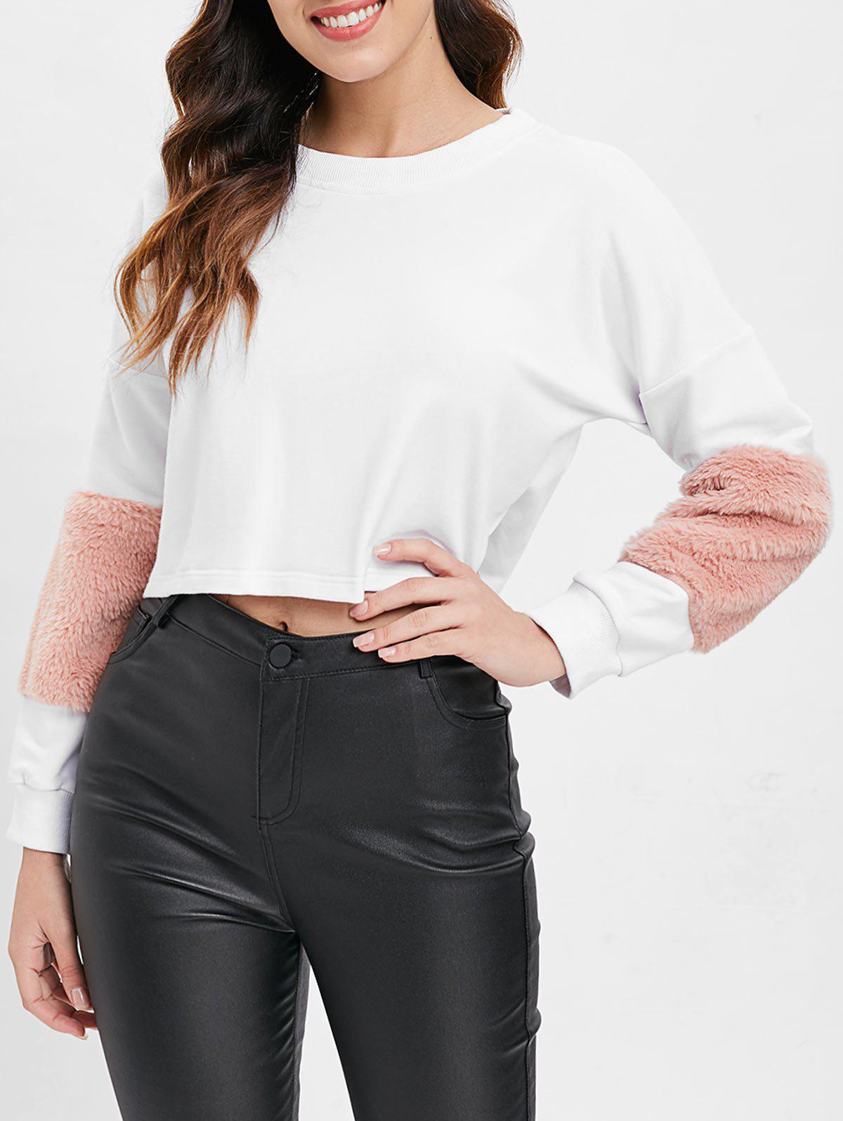 Buy Faux Fur Insert Crop Sweatshirt