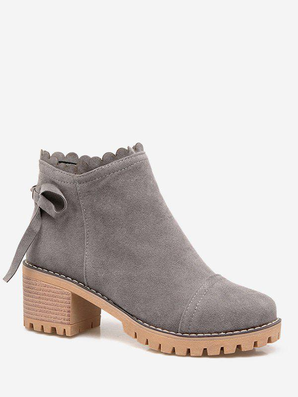 Affordable Plus Size Bow Back Suede Chunky Heel Boots