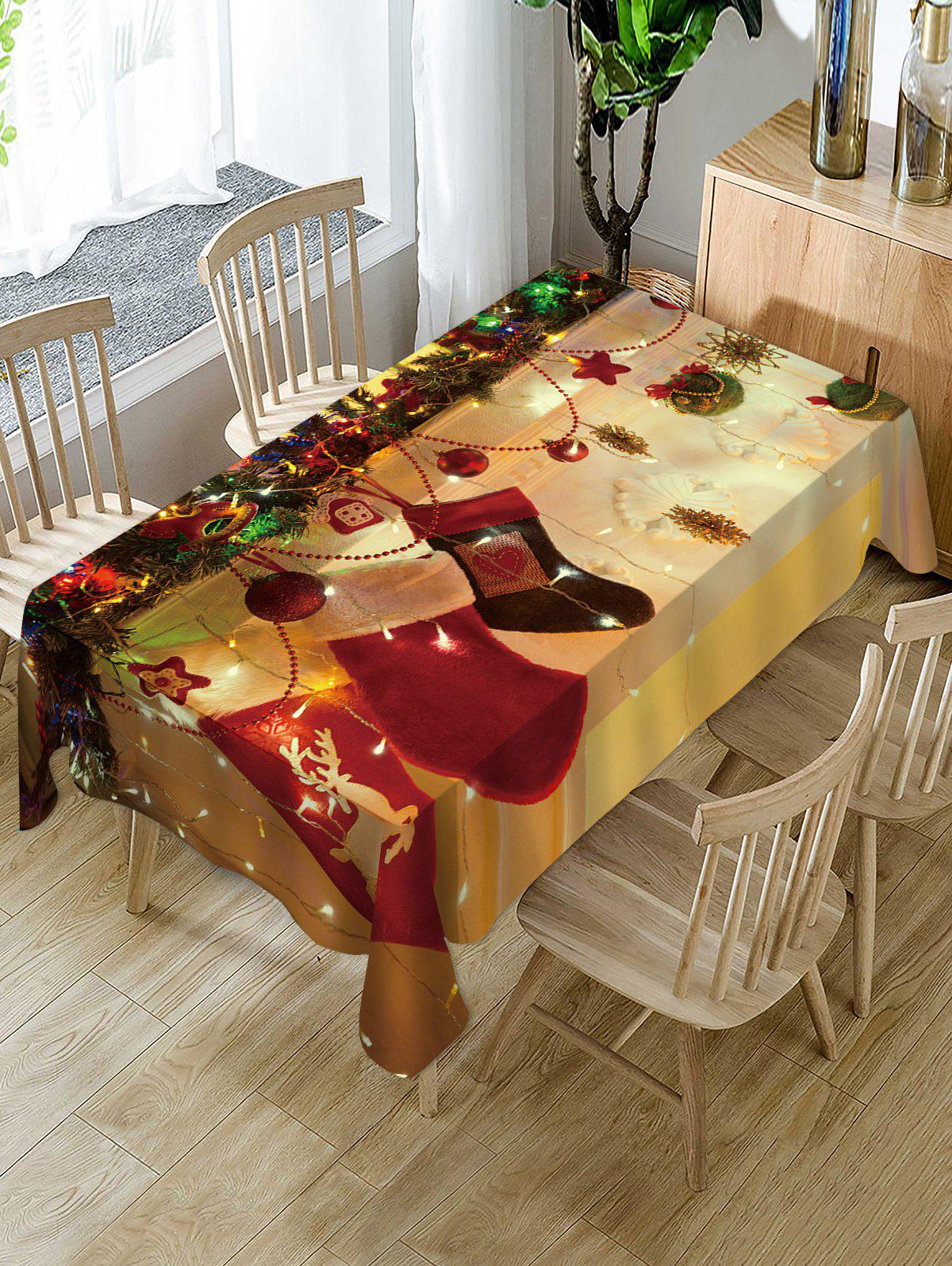 Shops Christmas Stocking Print Fabric Waterproof Table Cloth