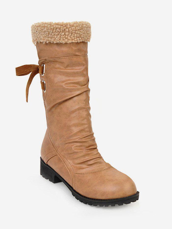 Store Plus Size Ruched Faux Fur Knee High Boots