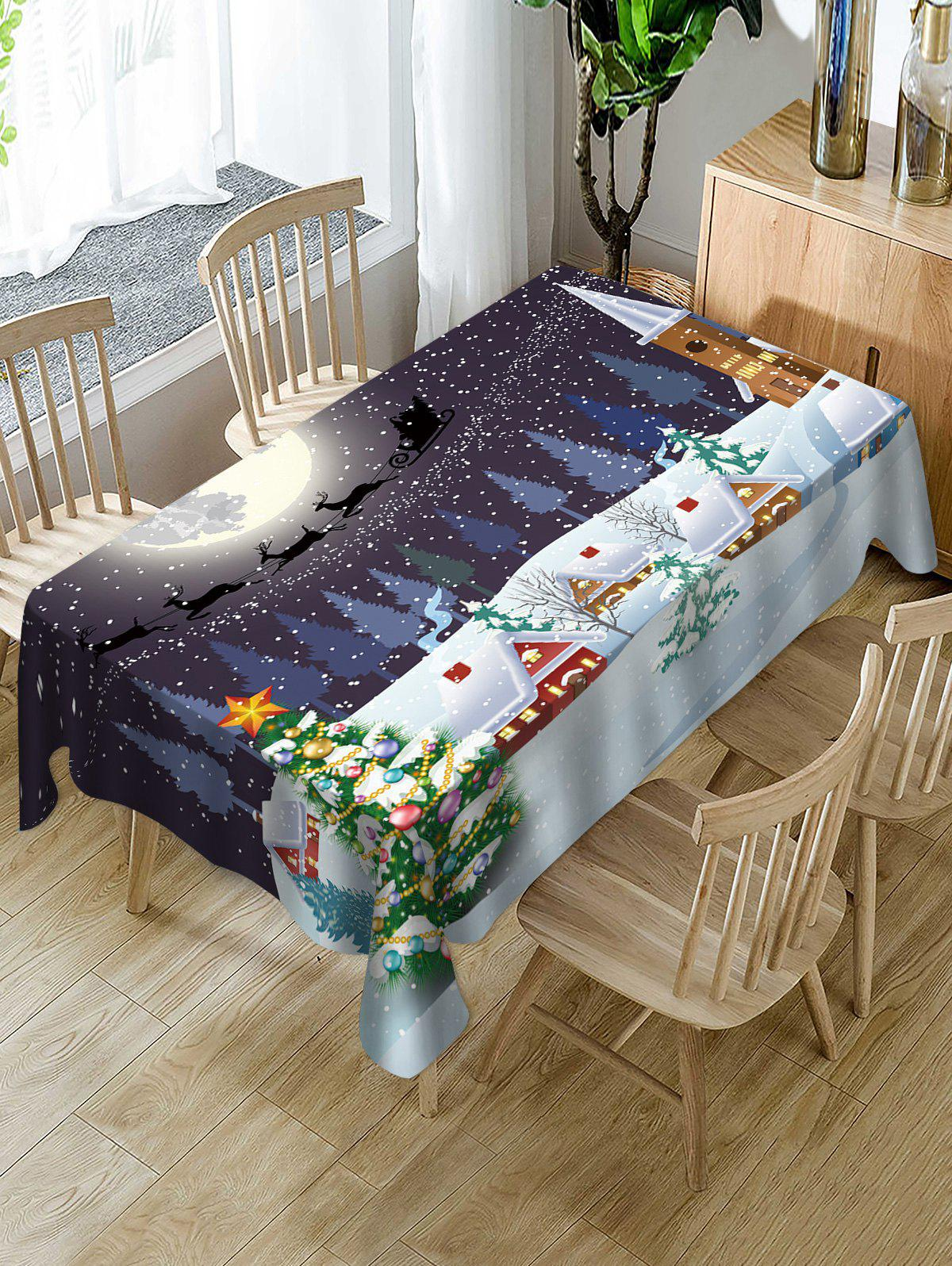 Online Christmas Snow Moon Night Print Fabric Waterproof Table Cloth