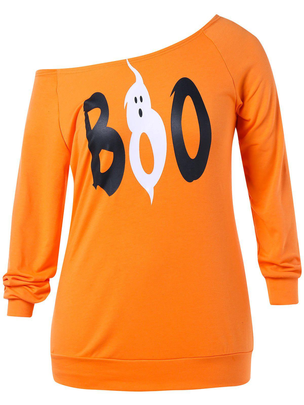Affordable Plus Size Halloween Ghost Pattern  Sweatshirt
