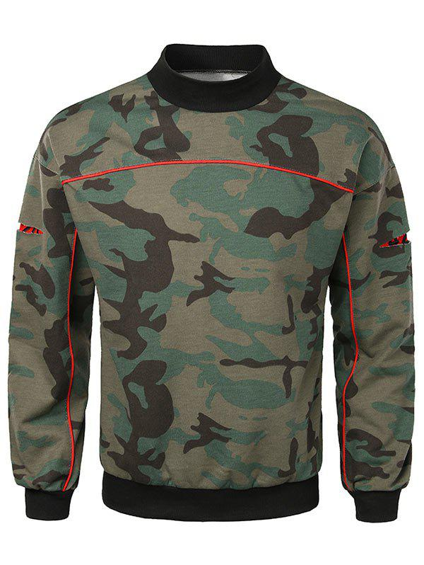 Sweat-shirt Camouflage à Manches Ouvertes Vert Camouflage L