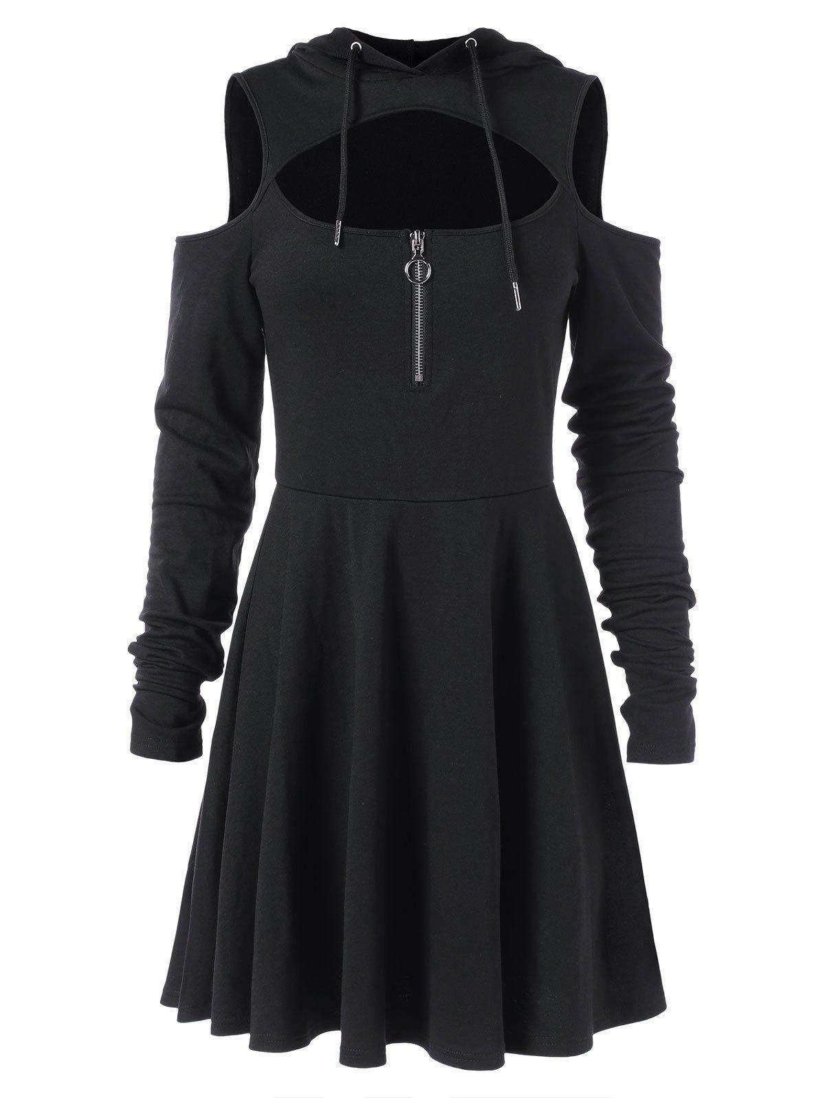 New Cut Out Full Sleeve Flare Hooded Dress