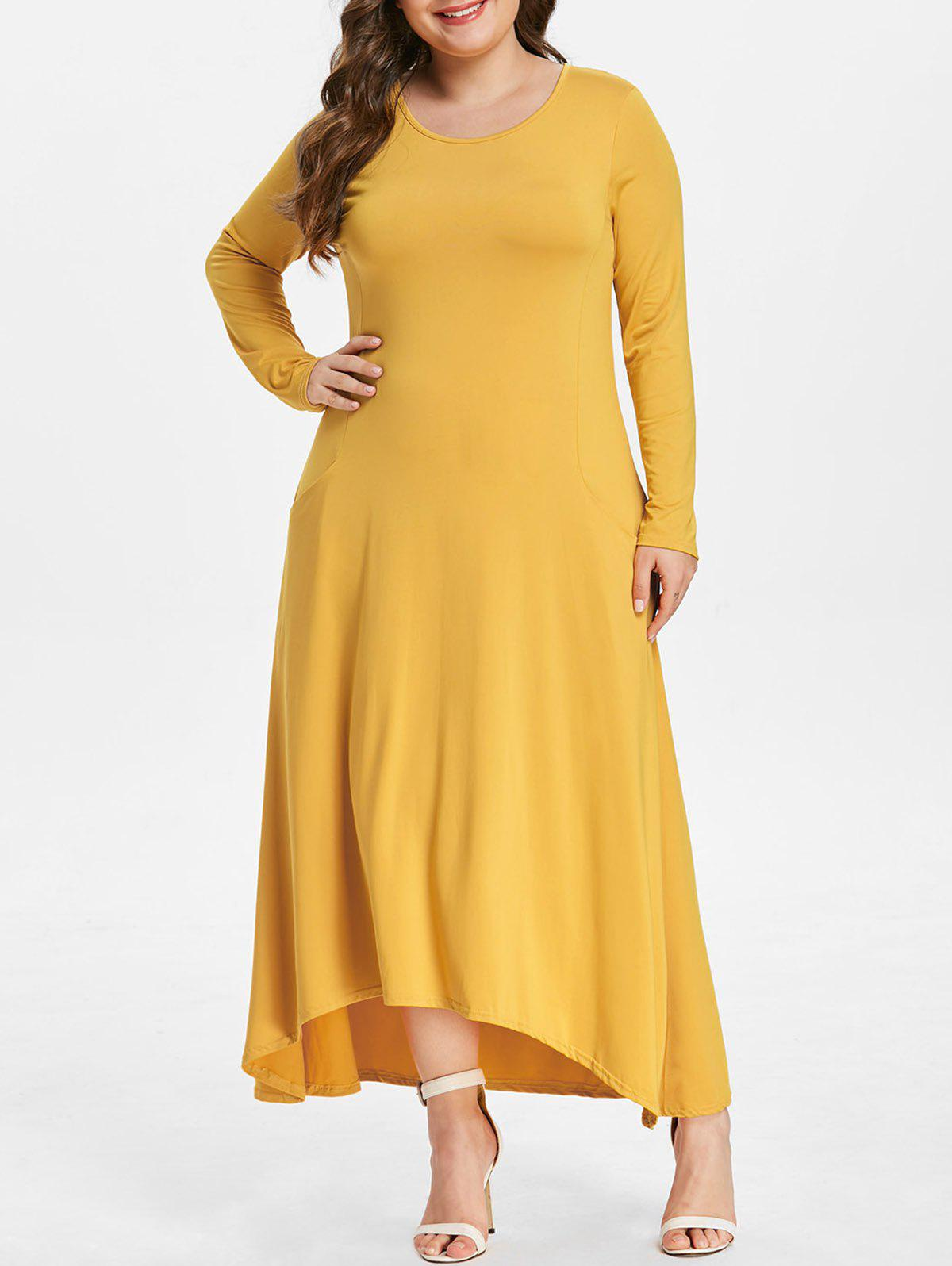 Fashion Front Pockets Plus Size High Low Dress