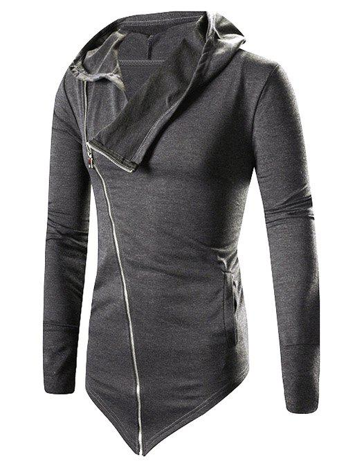 Buy Asymmetric Zip Up Solid Hoodie