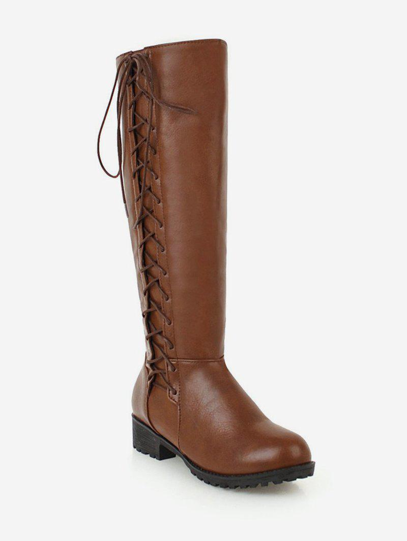 Cheap Plus Size Side Lace Up Knee High Boots